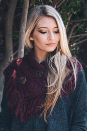 Wholesale heather fringe shoulder warmer with coconut buttons YS ACRYLIC WINTER STOCK SCARF