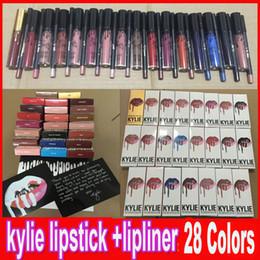 Wholesale KYLIE JENNER LIP KIT with lip liner pencil Lipkit Velvetine Liquid Matte Lipstick in Red Velvet Makeup Lip Gloss colors