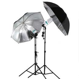 Wholesale 1Pcs cm quot Photo Studio Flash Light Grained Black Silver Umbrella Reflective Reflector