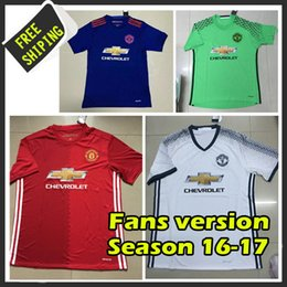 Wholesale Fans version Home jersey red blue white Soccer Shirt Thail quality camisetas maillots de foot United embroidery logo
