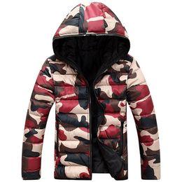 Wholesale Fall Fashion Korean Style Men Camouflage Parkas Zipper Hooded School Boy Man Winter Clothing Warm Outerwear Coat Size S XL JK11
