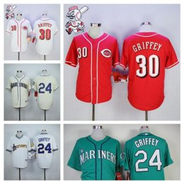 Wholesale Ken Griffey Jr Jersey New Style Cincinnati Reds Seattle Mariners Baseball Jersey Red Cream Green White Griffey Jersey