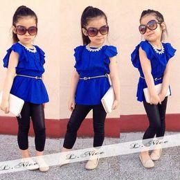 Cool Summer Baby Girls Blouse Trouser Set Chiffon Ruffled Butterfly Sleeve Blouse Legging Set Black Pants Slim Children Clothing SV017496