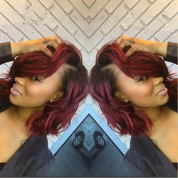 Ombre Short Bob Lace Front Wigs For Black Women 1B Burgundy Body Wave Virgin Peruvian Glueless Full Lace Wigs 130 Density Bleached Knots