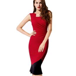 2017 Summer New sleeveless dress slim fitting falbala fishtail dress red European wrinkle one-step vest dress with zipper
