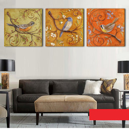 Wholesale 3Piece Abstract Birds Antique Paintings Printed Oil Painting Modern Wall Art Home Decoration Canvas Prints Pictures No Frame