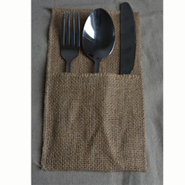 Wholesale Hessian Bow Tie Cutlery Holder Burlap Utensil bag Wedding Knife and fork organizer Party Tabel Decorations