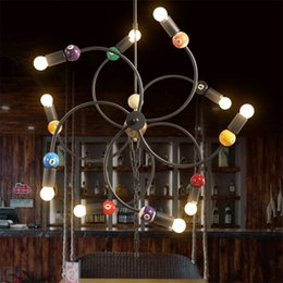 Wholesale American modern industrial loft style lighting engineering Iron Cafe Hot Wheels creative snooker billiards room chandelier