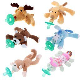 Wholesale Newborn silicone funny baby pacifier clips chain wubbanub animal pacifier with plush toy soother nipple dog monkey caterpil Factory Direct