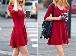 Spring Women V-Neck Three Quarter Sleeve Dresses Knitting Cotton Large Size Dress women Mini Slim dresses Free Shipping
