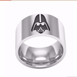 Wholesale star wars jedi symbol men ring jewelry titanium steel phantom hand decorated edge part men s lord of the rings painted center