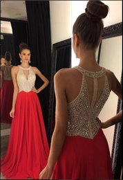 2019 Red A Line Chiffon Prom Dresses Halter Neck Crystals Beaded Formal Evening Dresses Vintage Custom Made Fashion Wear