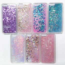 Wholesale For Iphone64 Plus s Dynamic Quicksand Bling Glitter Stars and Glitter Flowing Liquid Case Silica Gel TPU Frame Phone Covers OPP Package