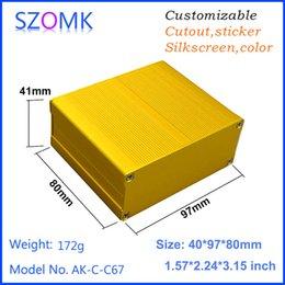 1 piece, 40*97*80mm gold aluminum amplifier enclosure electrical box pcb enclosure distribution box separated aluminum case AK-C-C67