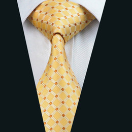 Yellow Suit Necktie for Men 8.5cm Width Jacquard Woven Business Work Formal Wedding Tie D-0437