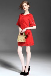 2016 women's dresses women's star with red embroidery hollow temperament Slim dress women dresses
