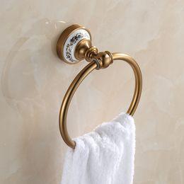 Wholesale Antique Aluminum Porcelain Towel Rings Wall Mounted Bathroom Accessories Towel Shelf