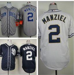 2017 johnny maillots manziel San Diego Padres Jersey # 2 Johnny Manziel Maillot de base-ball Blanc Accueil Gray Road Bleu marine Alternatif Shirt Johnny Manziel Padres johnny maillots manziel promotion