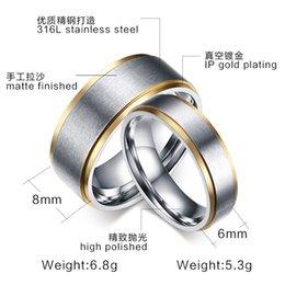 6MM 8MM 316L anneau en acier inoxydable avec bords plaqués or IP et surface mate fini Couple Anneaux Mariage Bagues de fiançailles pour hommes Femmes à partir de bague de fiançailles en titane or fabricateur