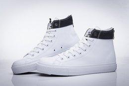 Compra Online Altos tops hombres 45-DORP ENVÍO NUEVO 35-45 Nueva unisex del bajo-top del alto-top adultos hombres de las mujeres Zapatos PU ató los cordones de los zapatos ocasionales de la zapatilla de deporte