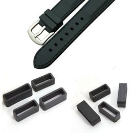 Regarder des pièces de réparation à vendre-pièces en gros-YCYS montre 18mm montres réparation Black Watch Strap retenue Holder Hoop Boucle caoutchouc Retenue Boucle