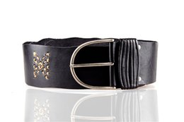 Wholesale Top Quality Italian Cow Hide Grain Leather Stitching Decorated Antique Style Women Fashion Wide Waist Belt
