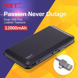 Wholesale WST mAh External Battery Power Bank Built in Cable Leather texture Portable Charger Backup Pack Powerbank Factory manufacturer DP923