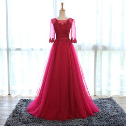 Half Sleeves Lace Tulle Evening Dresses Floor Length 2018 Pleated Long Evening Gowns With Open Back