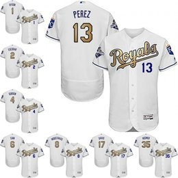 Wholesale New Kansas City Royals Flexbase Jersey Eric Hosmer Salvador Perez Gold Program Authentic Collection Baseball Jerseys