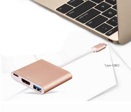 "USB-C USB 3.1 Type C to HDMI Digital AV & USB OTG & USB C Female Multiport Charger Adapter for Macbook 12"""