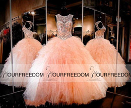 Blush Peach Backless Ball Gown Quinceanera Dresses 2019 Rhinestone Crystals Sheer Jewel Sweet 16 Ruffles Skirt Princess Prom Party Gowns