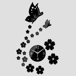 Wholesale Sticker Plastic Flower - 3D Mirror Wall Clock New Arrival Butterfly Flower DIY Living Room Kitchen Clocks Home Decoration Acrylic Quartz Clock Sticker