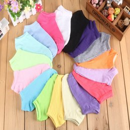 Wholesale women cotton socks summer cute candy color boat socks ankle socks for woman thin sock slippers