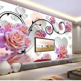 Wholesale Fantasy Rose Flower reflection D large mural wallpaper bedroom living room TV backdrop painting three dimensional wallpaper