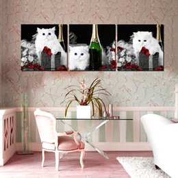 Wholesale Wall decoration Unframed Pieces art picture Canvas Prints white cat petal Abstract potted flower Lotus leaf Daisy Coffee rose Lavender