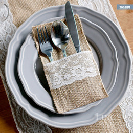 Wholesale 21 CM Jute Lace Tableware Bag Cutlery Pocket Burlap Knife And Fork Bag Buggy Bag For Wedding Party Home Decoration