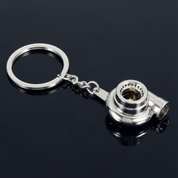 Wholesale Creative Automotive Turbo Charger Keychain Blower Car Key Ring Spinning Tuning Racing Turbine Key Chain Jewelry