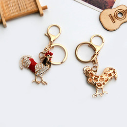 Wholesale Opals Cock Rooster Chicken Lovely Crystal Keyrings Keychains Rhinestone Bag Pendant Key chains Christmas Gift Jewelry Llaveros