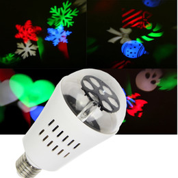 Wholesale 2016 christmas halloween decoration LED patern projector light bulb E27 RGB magic rotating ball snow flake flowers candy ghost