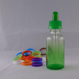 Colorful 30ml The Gradient Green Empty E Liquid Glass Dropper Bottles with Child Proof Bottle caps E liquid Wholesale Free shipping