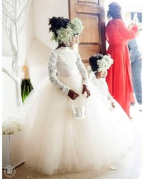 2016 Pretty High Neck Lace Flower Girls Dresses Ball Gown Long Sleeves Sheer Ribbon Sash Ivory White Girls Pageant Birthday Communion Gowns