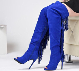 New Spring Autumn Knee Boots Suede Leather Tassel Knight Boots Women High Heel Royal Blue Roman Booties Ladies Open Toe Shoes