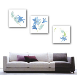 Home decoration unframed 3 Pieces picture free shipping Canvas Prints Purple flowers Morning glory Abstract flowers girl peony swan