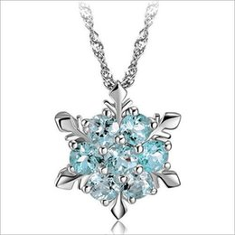 Blue Crystal Snowflake Pendant Necklace 925 Sterling Silver plated Pendant Necklace Frozen Style Snow Women Birthday Gift snow pendants