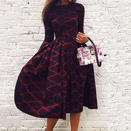 Women Long Sleeve Casual Crewneck Fashion Chic Vogue Stylish Floral Princess Charming Long Maxi A-Line Sundress Dress S M L XL