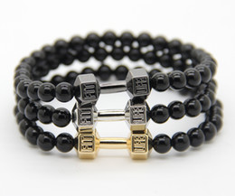 2016 Men's Fashion Energy Jewellry Wholesale, 6mm Black Agate Stone with Alloy Metal Fitness Dumbbell Charm Bracelets