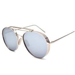 2017 espejo de cristal clásico Mujeres clásicas de las gafas de sol del gradiente con la marca de fábrica del CASO Oculos de sol Feminino Gafas de sol del espejo de la manera del diseñador Marco de plata femenino presupuesto espejo de cristal clásico