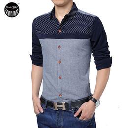 Wholesale-Brand 2016 Men'S Fashion Chemise Homme Polka Dot Stitching Pocket Chemise Large Size Homme Men Shirt Leisure Camisa Masculina