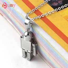 wholesale 10Pcs four Color Selectable Fashion Transformers Cute Robot stainless steel pendant necklace link chain fo men&women charm Jewelry