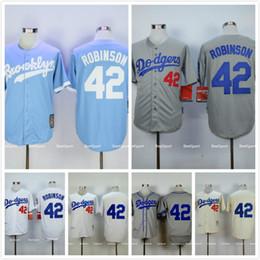 Wholesale 1955 LA Los Angeles Dodgers Jackie Robinson Jersey Gray White Cream Robinson Brooklyn Dodgers Throwback Baseball Jersey Blue